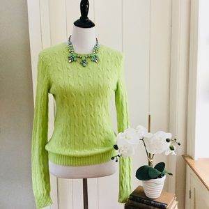 RALPH LAUREN Lime 100% Cashmere Cable Knit Sweater